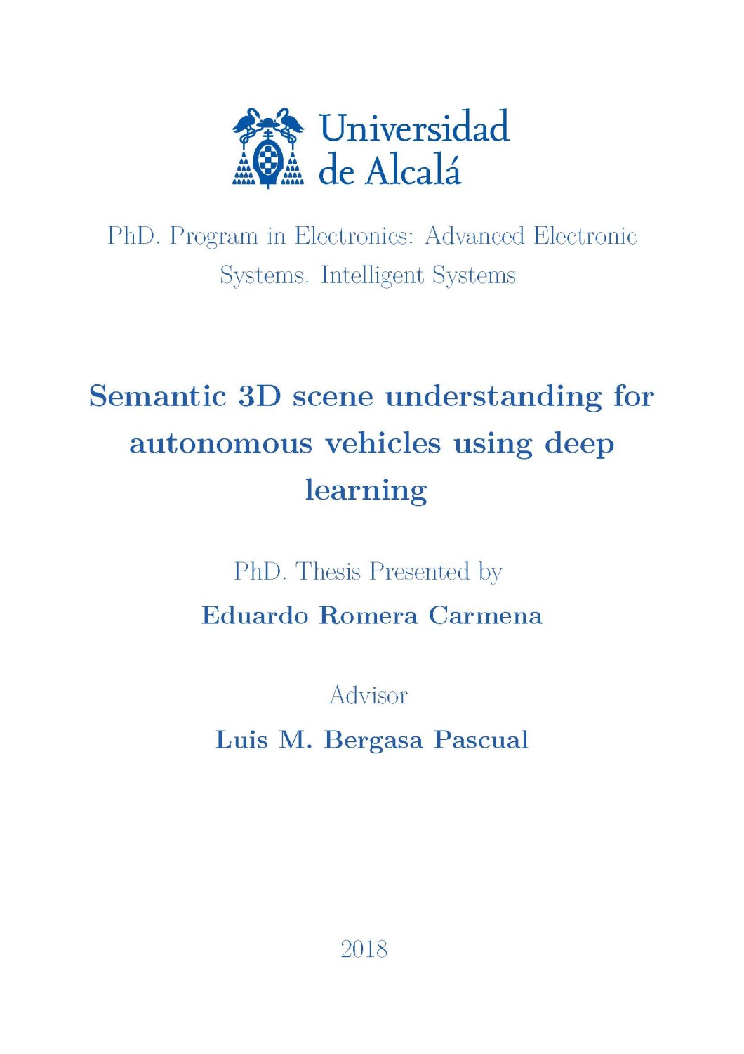 2020 Award for the best Doctoral Thesis for Eduardo Romera